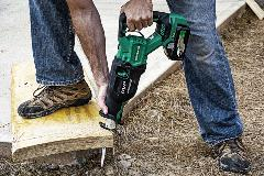 MultiVolt Reciprocating Saw cutting wood