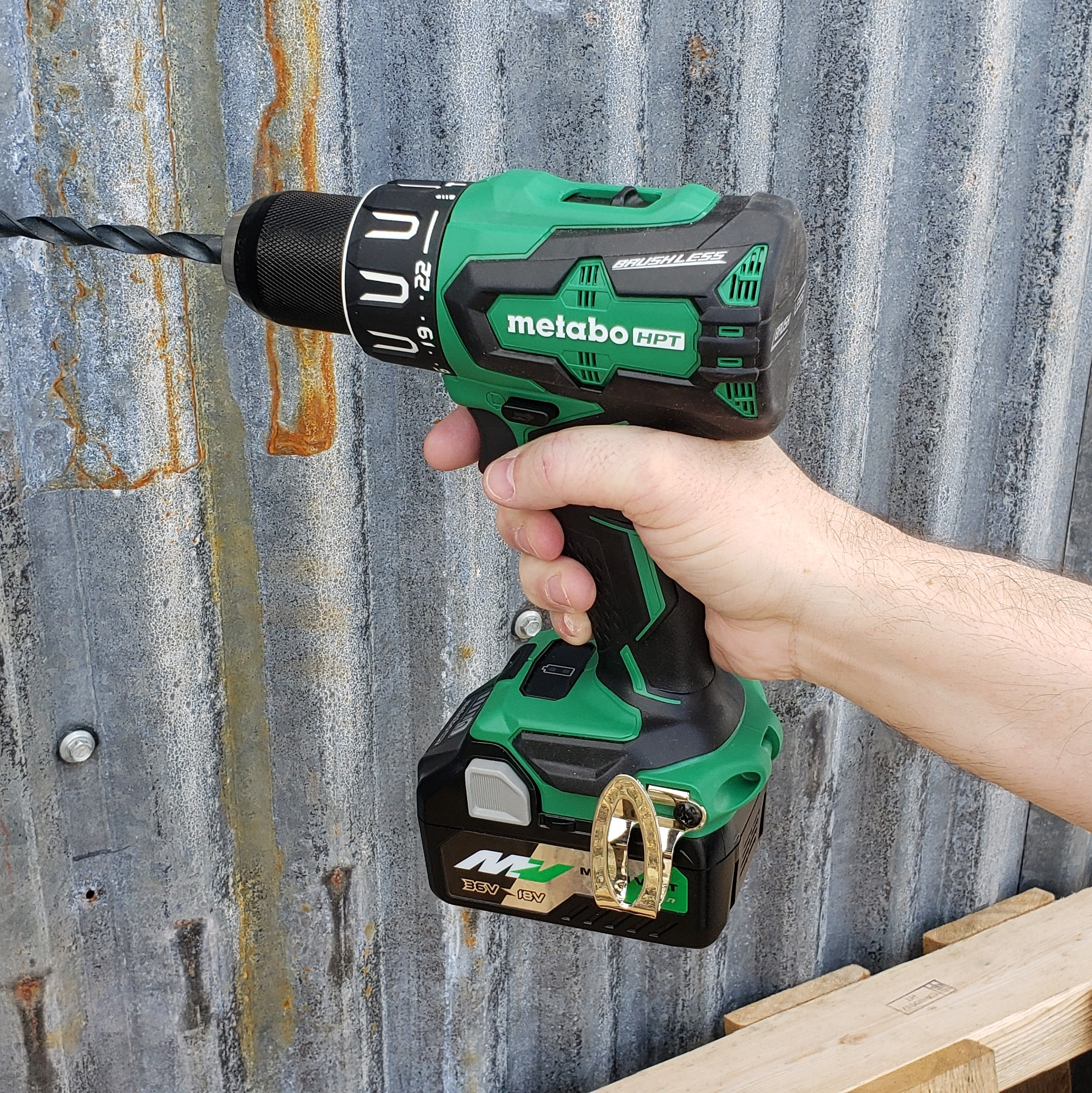 Drill driver in action