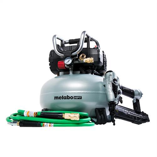 Metabo HPT Finish Combo Kit, Brad Nailer, Pancake Air Compressor, Hybrid Air Hose