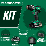 Cordless drill kit with batteries and charger